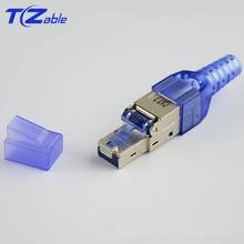 RJ45 Cat7 موصل 10Gbps درع إيثرنت شبكة التوصيل العقص RJ45 قابلة لإعادة الاستخدام إيثرنت كابل Cat6 محول كريستال موصلات