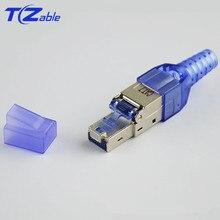 RJ45 Cat7 konektörü 10Gbps Ethernet kalkanı ağ fiş sıkma RJ45 yeniden kullanılabilir Ethernet kablosu Cat6 adaptörü kristal konektörler
