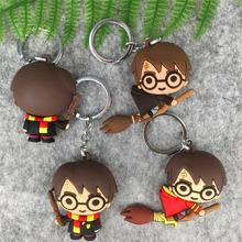 3D Harri Potter PVC Keychain Toy Dobby Hermione Granger Malfoy Ron Weasley Snap Action Figure Toys Party Cosplay PVC Key Ring(China)
