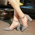 Punk Women Pumps High Heels Womens Dress Shoes  Large Size Shoes Fashion Casual Square Toe Thick heel PUMPS For Women 140