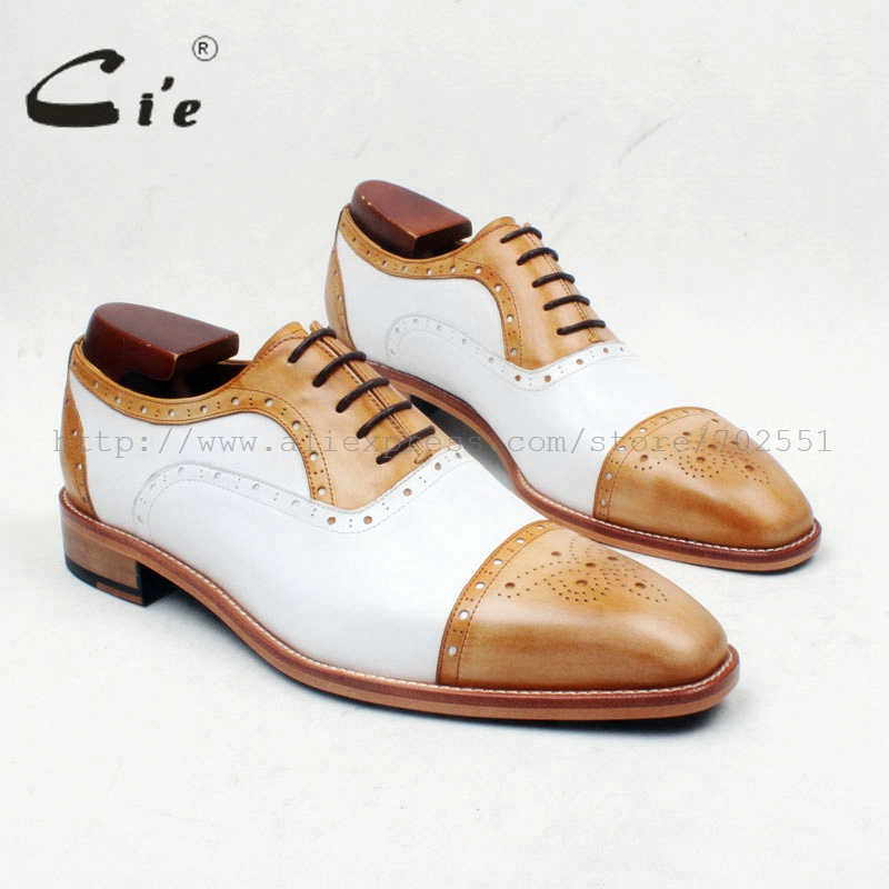 cie Square Toe SemiBrogues Lace-Up Brown Mixed White 100%Genuine Calf Leather Outsole Breathable Men Shoe Handmade Oxford OX659 цены онлайн
