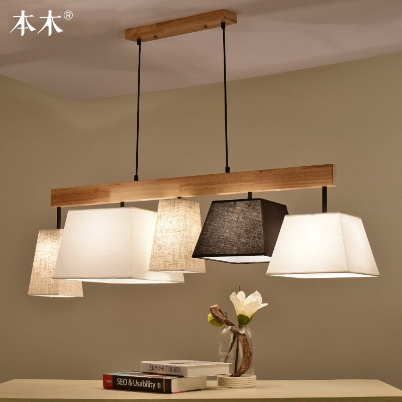 Nordic Solid Wood Pendant Light Fabric Cloth Lampshade Bar