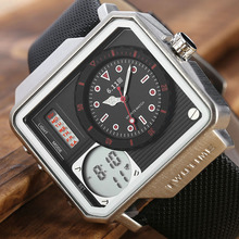 6.11 Mens New Square Double Time Leather Band 30M Waterproof Watch Backlight LED Digital Men Sport relogio masculino