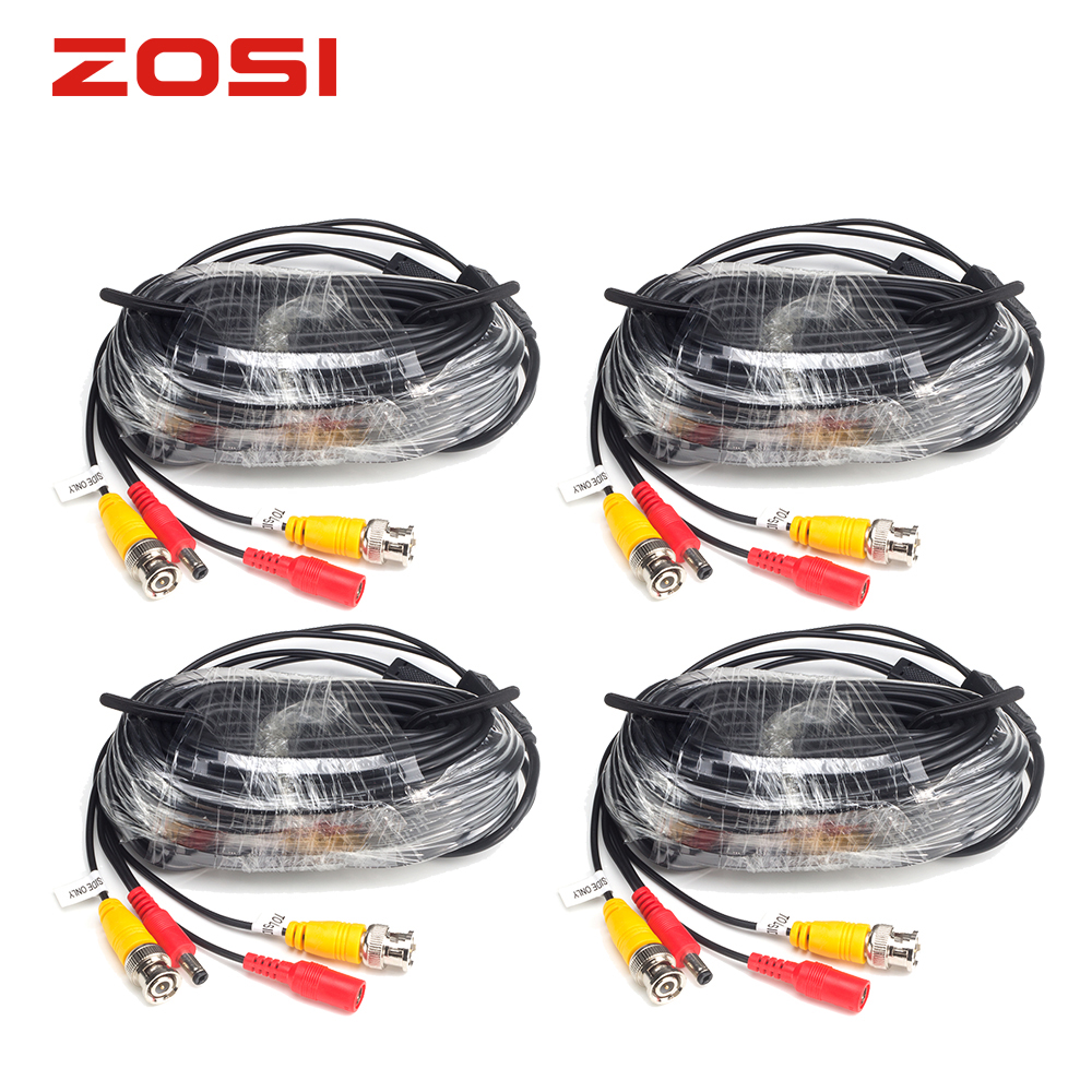 ZOSI 4-Packed 18.3m CCTV Power Video BNC + DC Plug Cable For CCTV Camera And DVR System Coaxial Cable Black Color