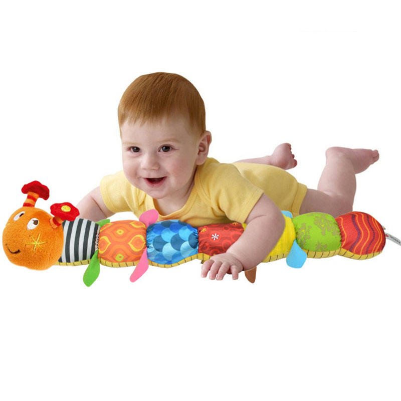 21 inch soft Toy Music stuffed Caterpillar with Ring Bell Cute Cartoon Animal Plush Baby creative Doll Early Education Toy