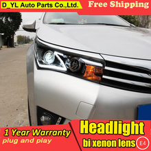 Car Styling for Toyota Corolla Headlights 2014-2015 Corolla LED Headlight DRL Bi Xenon Lens High Low Beam Parking HID Fog Lamp