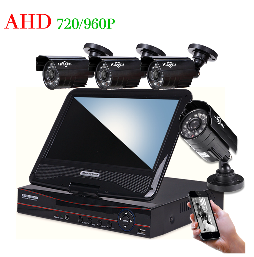 4CH HD 1200TVL 720P 1500TVL 960P 10inch Displayer CCTV KIT System IR Bullet Outdoor Surveillance Camera