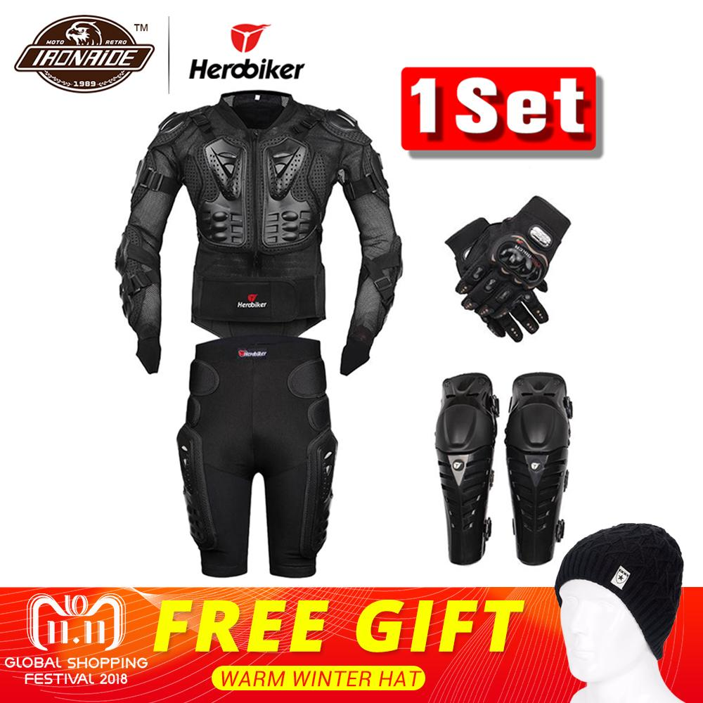 New Moto Motocross Racing Motorcycle Body Armor Protective Gear Motorcycle Jacket+Shorts Pants+Protection Knee Pads+Gloves Guard herobiker armor removable neck protection guards riding skating motorcycle racing protective gear full body armor protectors