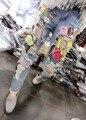AQ201 Outono Meados Cintura Multicor Artesanal Patrick Estrela Dos Desenhos Animados Bordado das calças de Brim Grandes Buracos Mulheres Rua Calça Jeans
