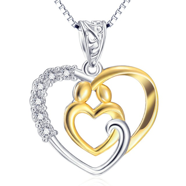 Gnx10213 real 925 sterling silver necklaces crystal love heart gnx10213 real 925 sterling silver necklaces crystal love heart gold color mother child pendant necklace fashion aloadofball Image collections