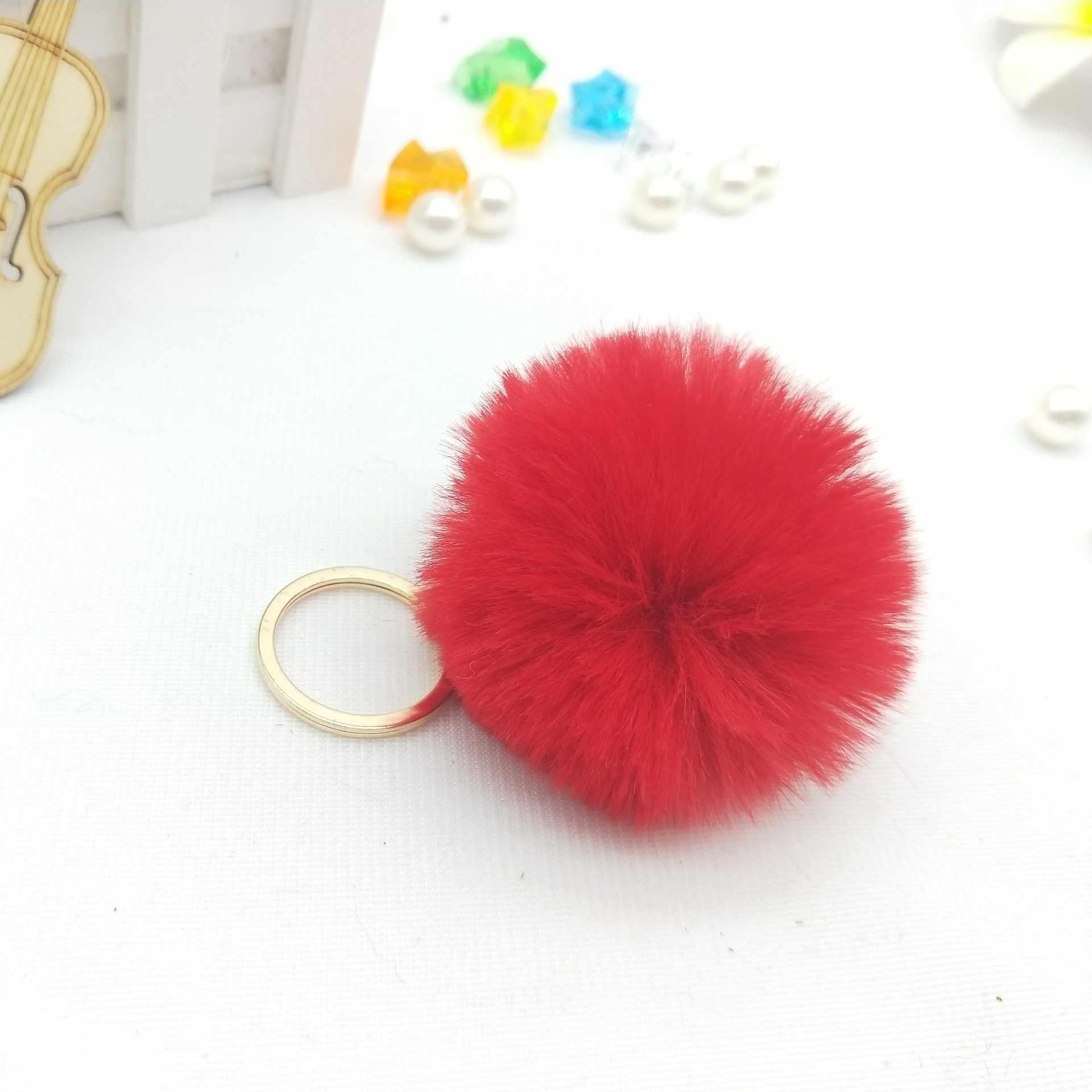 25 צבעים Keychain תכשיט פונפונים מחזיקי מפתחות נדל פרווה Keychain Pompom Pumponchik Keychain פרווה Llaveros Pompom Llaveros Mujer