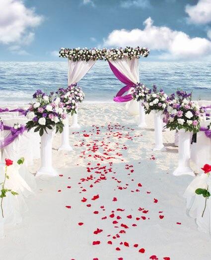 Beach Wedding Vinyl Cloth Fantasy Curtain Flower Road