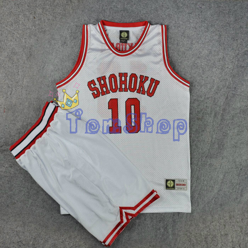 Anime Slam Dunk Cosplay Shohoku School #10 Sakuragi Hanamichi White Basketball Jersey + Shorts Sportswear Team Uniform Costume