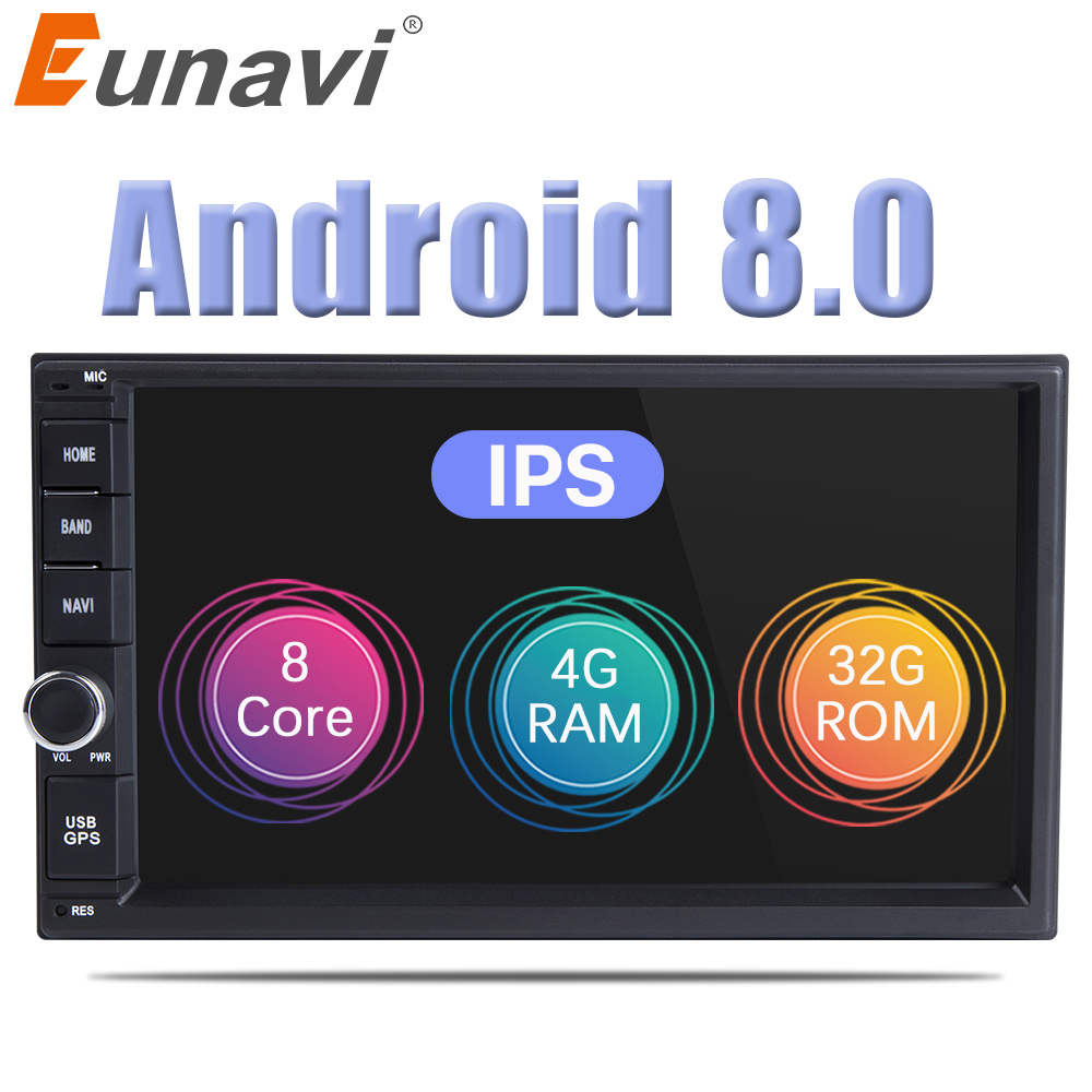 Eunavi Double 2 Din 7'' Octa core Universal Android 8.0 4G RAM Car Radio PC Stereo Video GPS Navigation 1024*600 HD Touch Screen 7 hd digital capacitive touch screen universal 2 din android 8 0 octa core 4g ram 32g rom for nissan car audio stereo