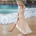 Boho Пляж Свадебное Платье Из Двух Частей Дешевые Свадебные Платья 2017 Vestido де Noiva Baratos Летом Лодыжки Длина Свадебные Платья Кружева