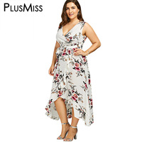 GIYI Plus Size 5XL 4XL Floral Print Chiffon Beach Maxi Long Dress Summer Women Clothes Sexy
