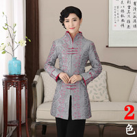 Traditional Chinese Dust Coat Women S Satin Long Jacket Gray Red Size M 4XL