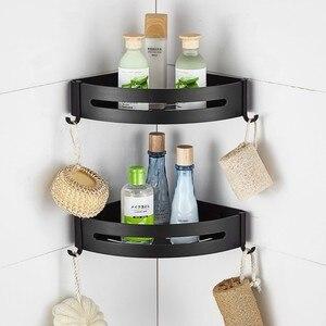 Image 1 - Przestrzeń aluminium czarny łazienka półki rogu do montażu na ścianie prysznic Rack szampon do przechowywania wieszak na ręczniki łazienka akcesoria