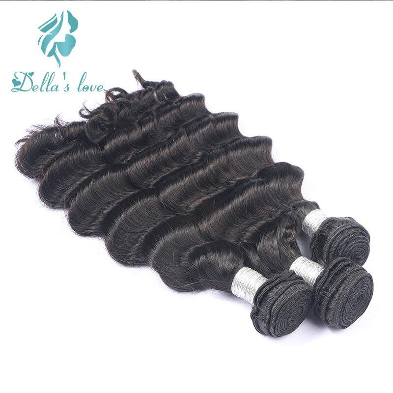 3 Pcs Hair Weaving Deep Wave Brazilian Human Hair Bundles For Women Natural Color Remy Hair Double Weft Dellas Love Hair
