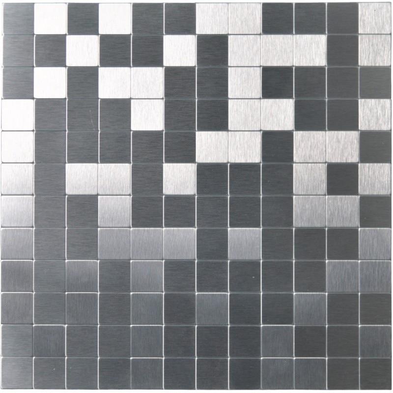 metal backsplash tile peel and stick mosaics silver brushed chips 10 sheets
