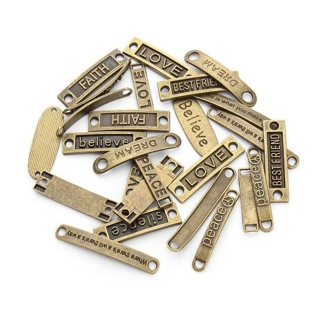 20pcs/lot Mixed Styles Antique Bronze Alphabet connector Best friend Love Believe Peace Dream charms for DIY bracelets F2675
