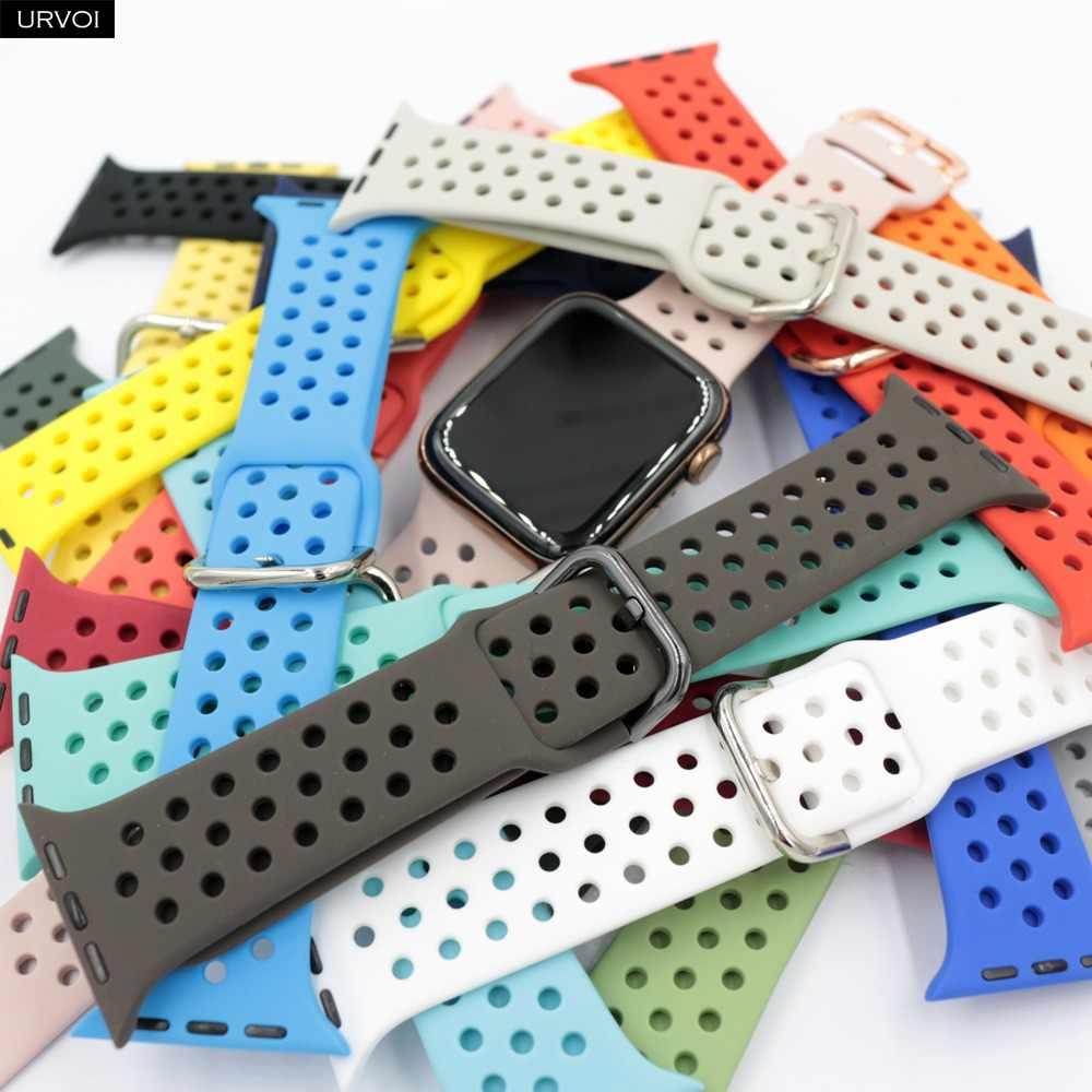 Ремешок URVOI для apple watch 5 4 3 2 1 ремешок для iwatch силиконовый спортивный ремешок 40 мм 44 мм аксессуары для часов мягкий дышащий 38 мм 42 мм