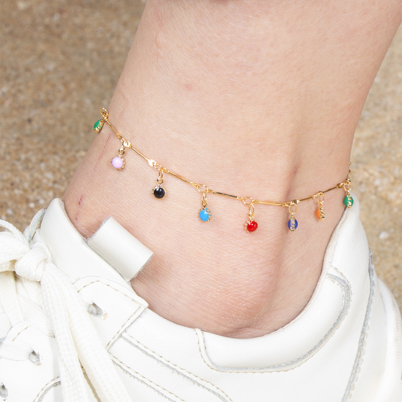 docona Bohemia Colorful Crystal Sunflower Beaded Anklet for Women Water Drops Daisy Charm Chain Anklets Jewelry Pulseras 7044