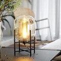 Современный минималистичный стеклянный чехол для спальни настольная Ночная настольная лампа металлическая полка для гостиной кабинет мод...