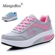 Mangobox Новинка 2017 года женская спортивная обувь Прогулки Кроссовки увеличивающие рост Удобные Женская обувь черный, розовый спортивные кроссовки
