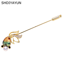 SHDIYAYUN 2019 New Big Sale Pearl Brooch For Women Goldfish Gradual Crystal Brooches Pins Natural Freshwater Fine Jewelry