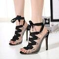 2016 женщин на высоких каблуках прозрачный ясно узелок ремешками лодыжки открытым носком гладиатор римские сандалии slingback высокие каблуки 40