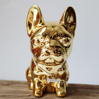 European electroplated ceramic dog figurines pet piggy bank home accessories ornaments French Bulldog crafts children gift