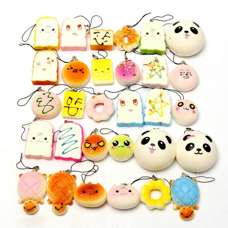 все цены на  10Pcs/set Hot Sale Small Cute Lovely Bread Cell Phone Decoration Random Squishy Soft Panda/Bread/Cake/Buns Phone Straps Pendant  онлайн