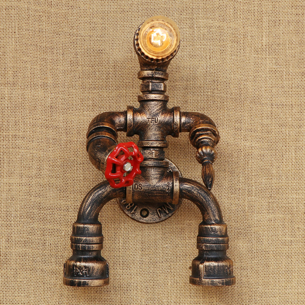 Robot steam punk style Loft luminaire iron Water pipe retro wall lamp E27 LED sconce wall lights for living room bathroom bar steampunk loft 4 color iron water pipe retro wall lamp vintage e27 e26 sconce lights for living room bedroom restaurant bar