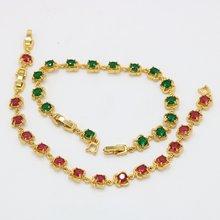Красный/зеленый циркониевый красивый браслет цепочка желтое