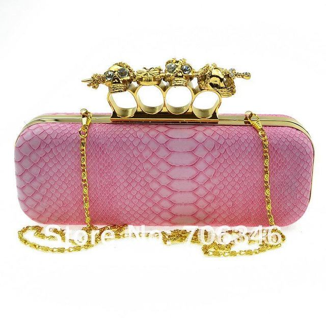 Double Skull Duster Knuckle Ring Clutch Purse Bag Handbag with shoulder chain