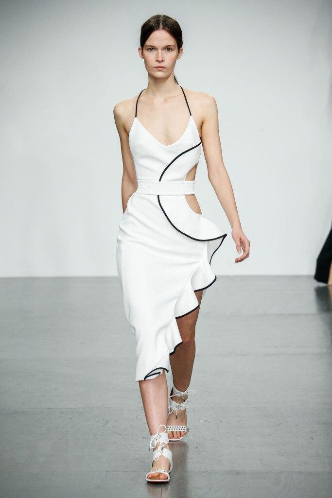 Deavogy 2019 New Luxury Women sleeveless strap V neck ruffles Sexy Evening Party bandage Dress