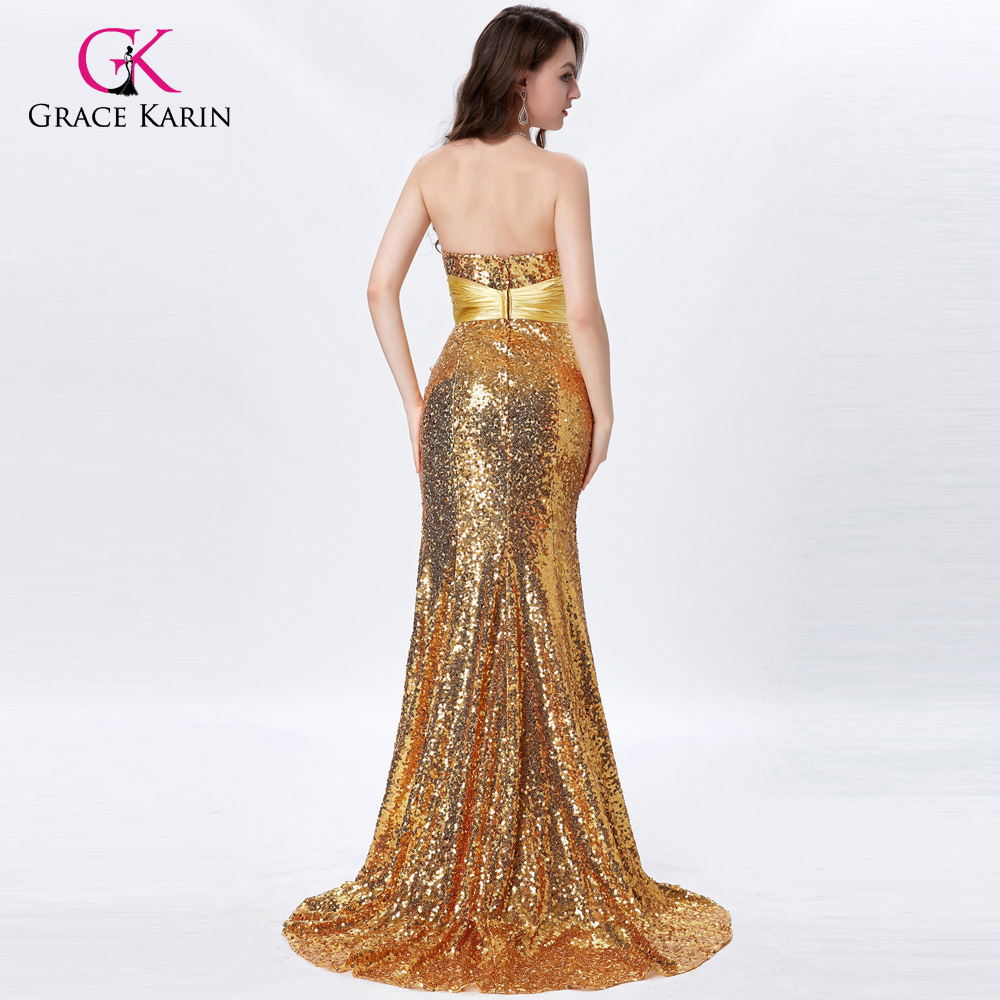 0e90326bfd1 Grace Karin Long Gold Prom Dresses 2018 Sexy Sequin Sparkly Silver Prom  Dresses Beaded Strapless Mermaid Formal Evening Gowns-in Prom Dresses from  Weddings ...