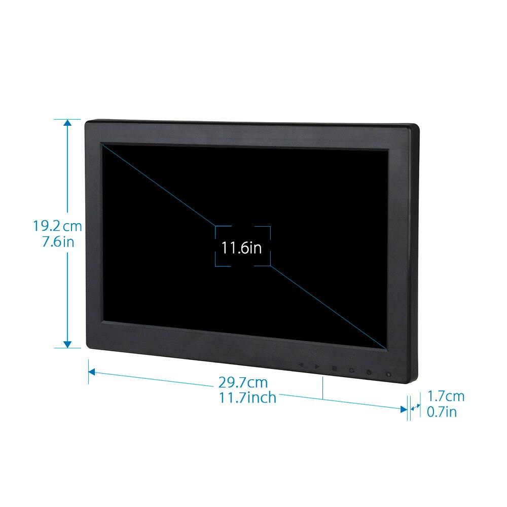 Eyoyo T1116 12 pouces TFT LCD 1366*768 VGA/TV/HDMI/AV TFT LCD moniteur couleur pour système de sécurité de vidéosurveillance - 5