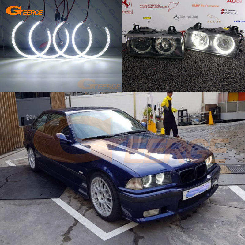 For BMW E36 3 Series with Euro headlights 1992-1998 Excellent angel eyes Ultra bright SMD led Angel Eyes Halo Ring kit DRL
