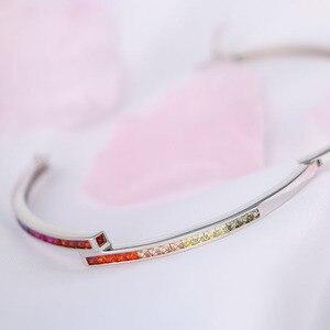 Image 3 - Estilo simples amarelo rosa azul roxo vermelho colorido arco íris pulseira pulseira para mulher 3mm largura s925 prata esterlina pulseira presente