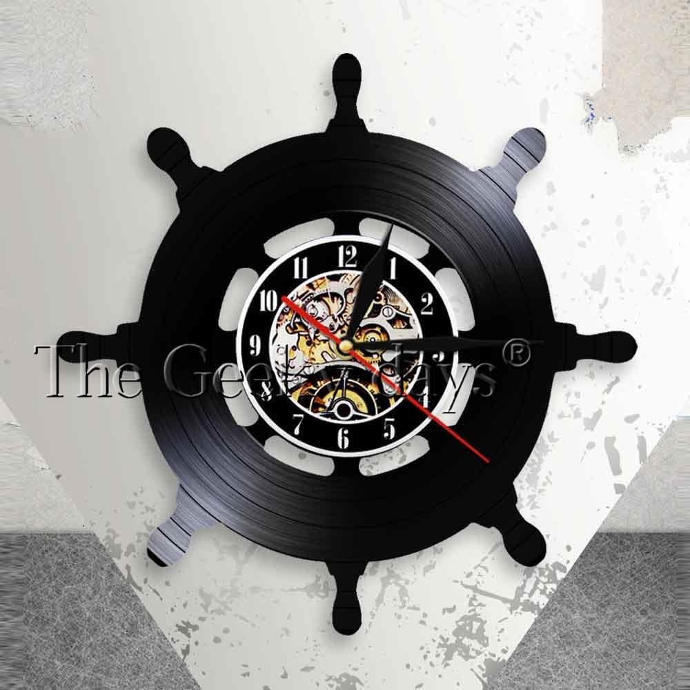 Captain Ship Wheel Wall Art Ship Steering Living Room Wall Decor Vinyl Record Wall Clock Travel Sea Sailing Mariner Sailors Gift