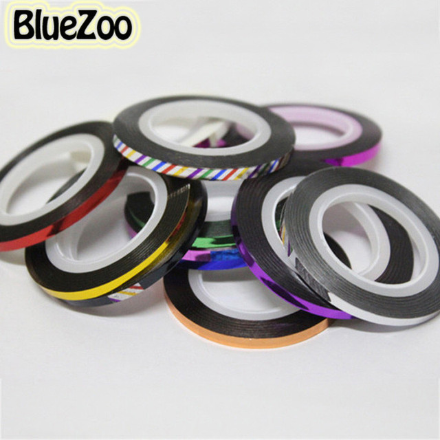 BlueZoo 20pcs Rolls Striping Tape Line Decals Foil Metallic yarn Line Nail Art Decoration Stickers For Nails On Nail Care