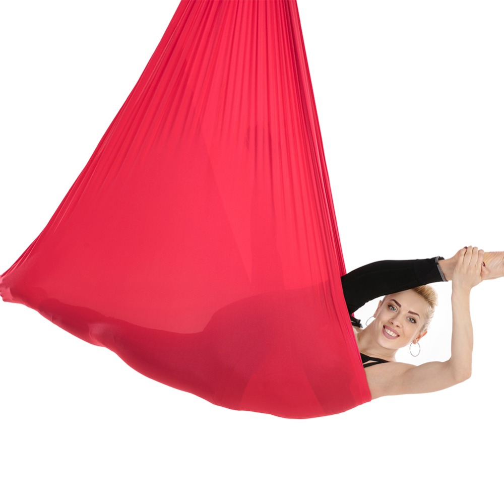 5*2.8m Yoga Belt Anti-Gravity Yoga Hammock Swing Pilates Aerial Traction Device Body Building Fitness Equipment 16 Colors 5 2 8m aerial anti gravity yoga hammock high altitude sling stretch belt yoga strap yoga accessories
