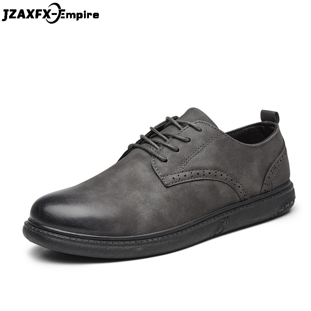 Brand  Leather Casual Shoes Men Wear Comfort Footwear Lace-Up Black Brown Bullock Breathable Male Business Shoes