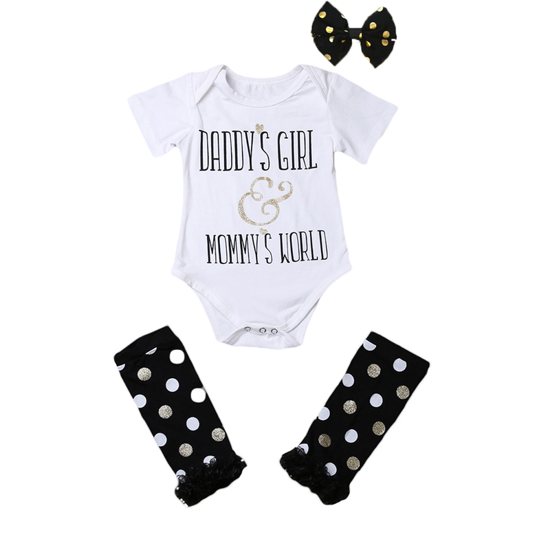 Newborn Baby Girls Clothes Print Letter Short Sleeve Romper Jumpsuit Outfits Leg Warmer+Headband Set