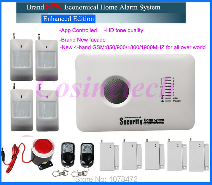 315/433MH cheap GSM alarm system alarm system with APP control 850/900/1800/ 1900MHz Burglar Alarm System with back-up battery 315 433mh 2262 code app control gsm alarm system with 3 wired and 70 wireless defense zones burglar alarm system