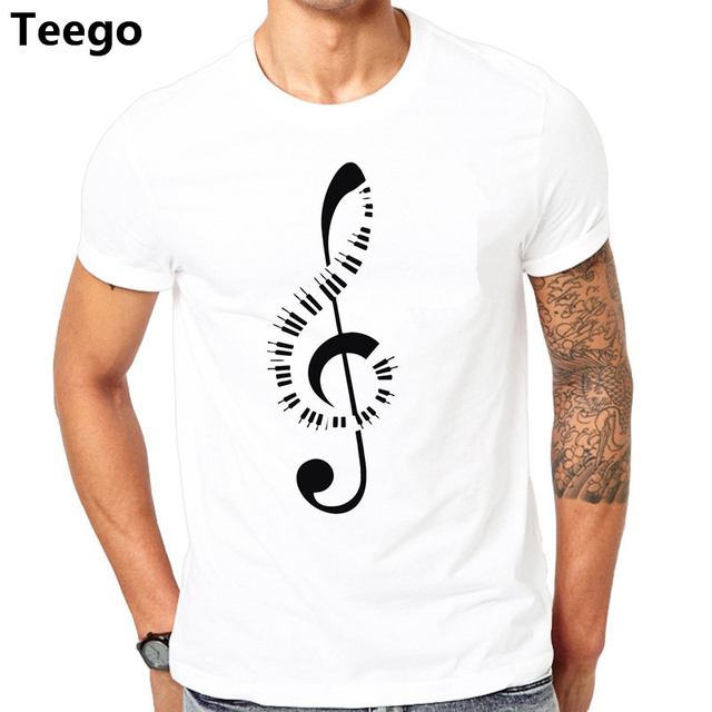 New Design T Shirt Men Brand Clothing Fashion Piano Keyboard Amp