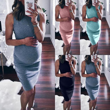 Fashion Fall Winter Women Sleeveless Pregnant Maternity Print Polyester Dress Maternity Props Body con Casual Party Dresse