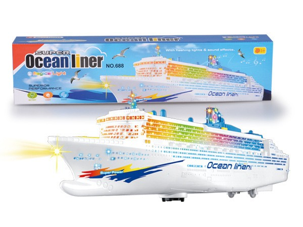 New Large luxury cruise ship Toy Boat model Universal rotation with music light Baby toy kids colorful luminous ocean liner gift